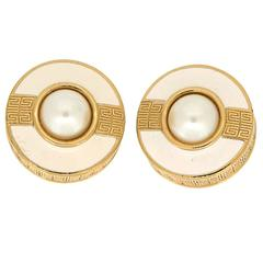 Givenchy Vintage Gold Earrings with Pearl