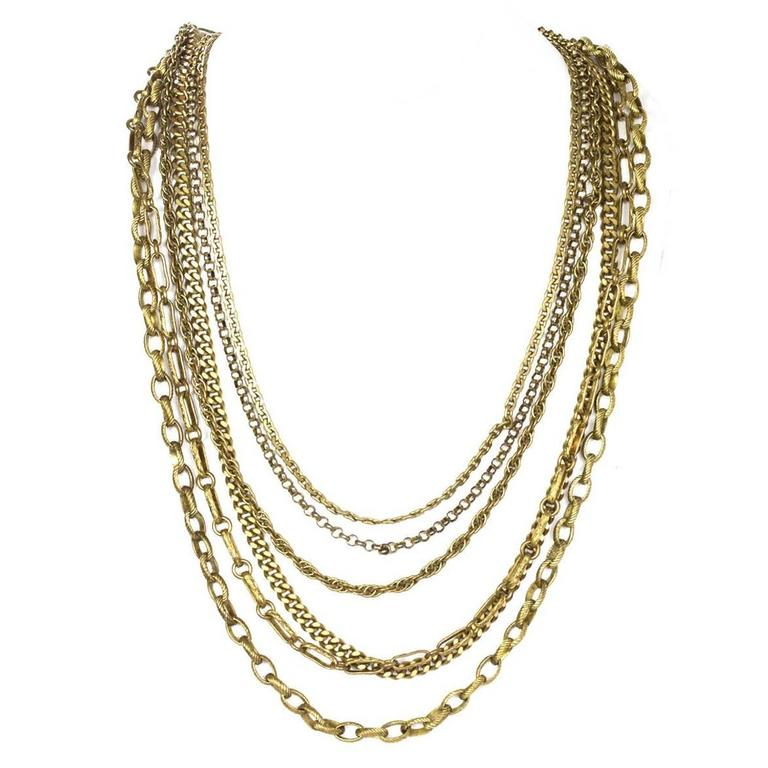 Chanel Vintage 6 Strand Goldtone Chain-link Gripoix Necklace 1