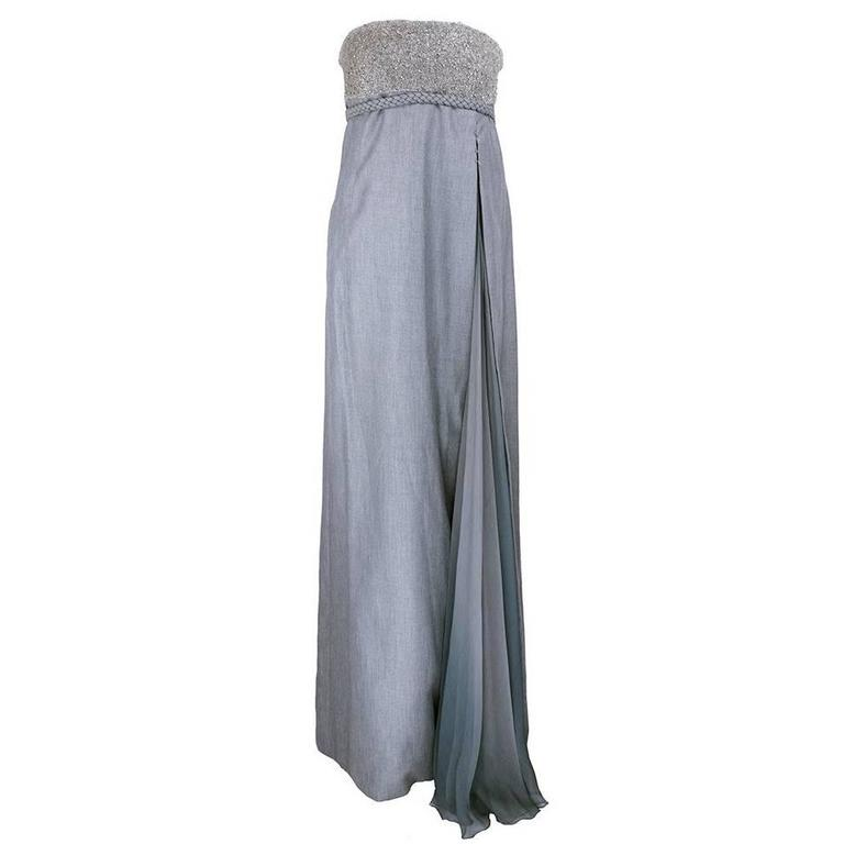 Chado Ralph Rucci Grey Silk Wool And Chiffon Strapless Gown with Wrap 1