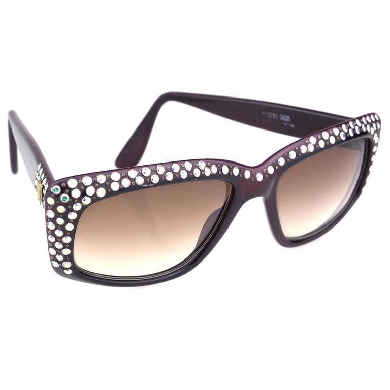 Emmanuelle Khanh 80s Iconic Burgundy Rhinestone Encrusted Sunglasses 1