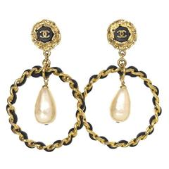 Chanel Vintage '80s Leather Hoop Clip Ons With Pearl Drop