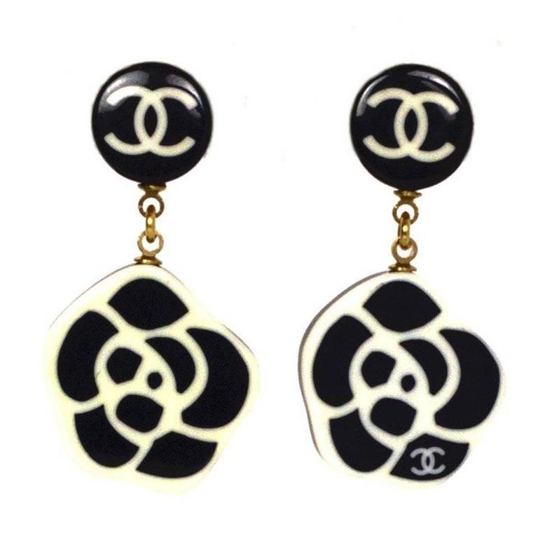 chanel black white cc camelia clip on earrings at 1stdibs