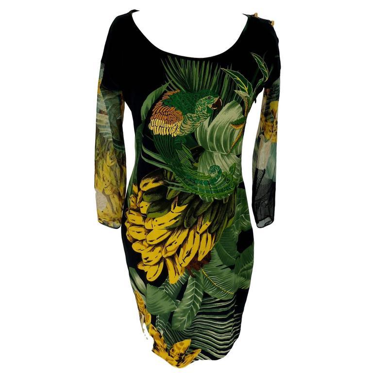 Gianfranco Ferrè 1980s silk vintage dress animal print women's vintage size 44 For Sale