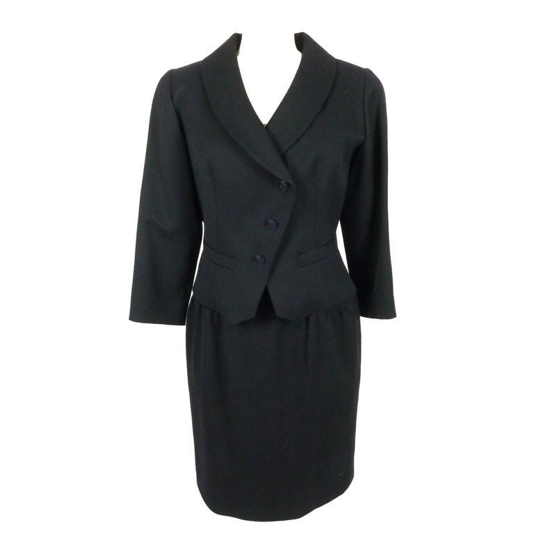Fendi 365 vintage 1980s jacket and skirt set dress suit blue wool size 44