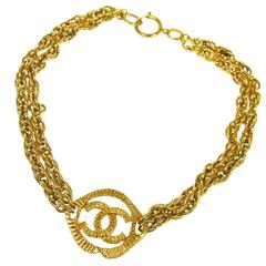 Chanel Vintage Gold CC Charm Double Strand Chain Link Choker Pendant Necklace