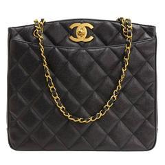 Chanel Black Caviar Gold Chain Shopper CarryAll Bag