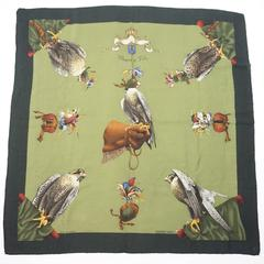 """Hermes Green Cashmere """"Chasse a Vol"""" Hawk Print Scarf"""