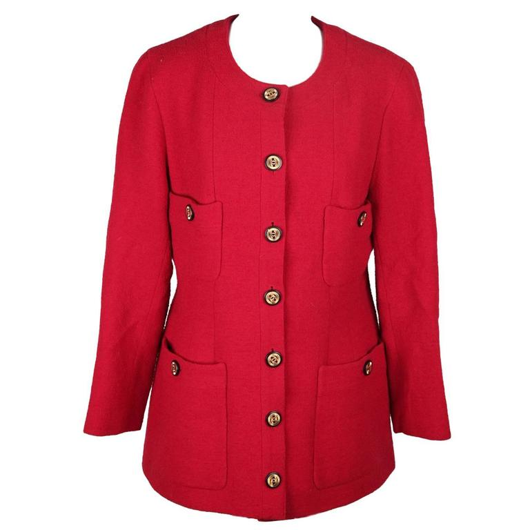 CHANEL BOUTIQUE Vintage Red Collarless BLAZER Jacket For Sale at ...