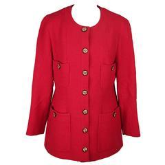 Chanel Boutique Vintage Red Collarless Blazer Jacket
