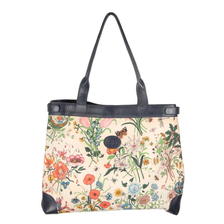 GUCCI Vintage Floral FLORA Canvas And Blue Leather TOTE For Sale At 1stdibs