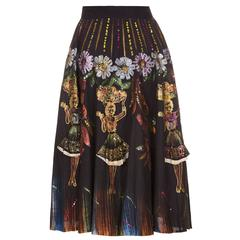 1950s Mexican Novelty Hand Painted Carmen Miranda Circle Skirt