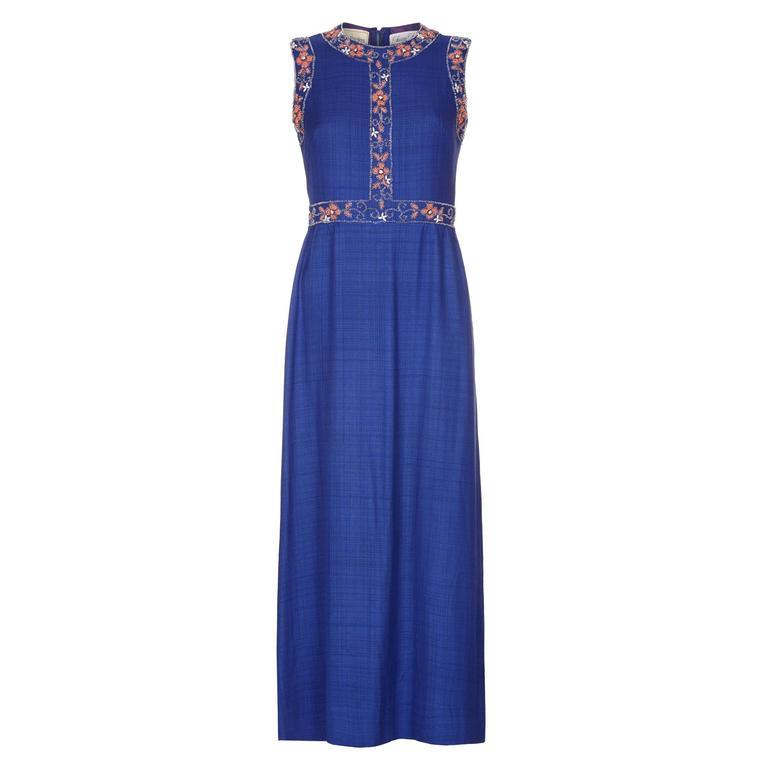 1970s Susan Small Blue Silk/ Linen Beaded Maxi Dress 1