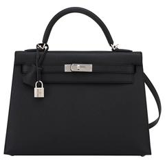 Fashionista Hermes Jet Black 32cm Epsom Sellier Kelly Palladium Hardware