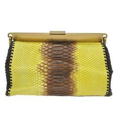 Prada Multi Color Cognac Python Kisslock Frame Evening Clutch Shoulder Bag