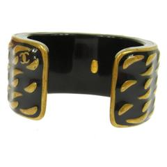 Chanel Black Antique Bronze Wave Charm Wide Evening Cuff Bracelet