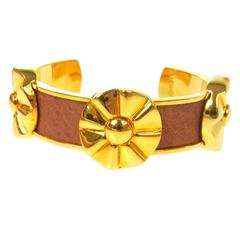 Hermes Cognac Tan Leather Gold Flower Charm Evening Cuff Bracelet in Box