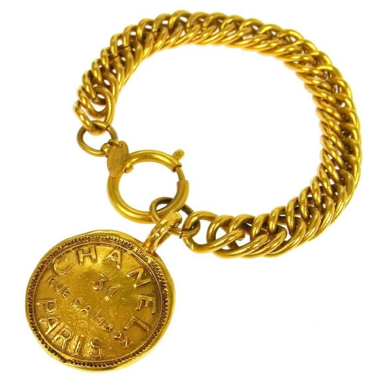 Chanel Vintage Gold Rue Cambon Chunky Link Coin Charm Evening Bracelet For