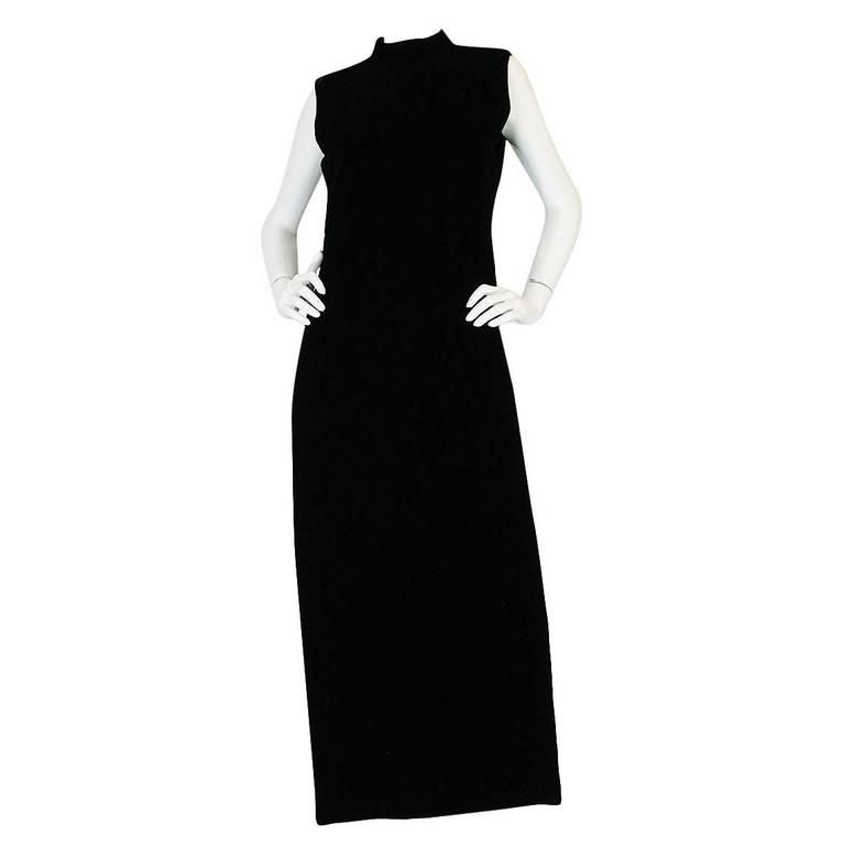 "1960s Couture Pierre Cardin Black Velvet ""Tabard"" Dress"