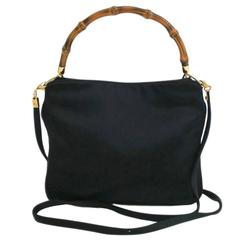 Gucci Black Bamboo Top Handle Satchel Evening Crossbody Shoulder Bag