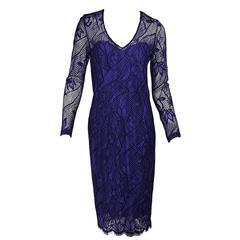 Purple Lela Rose Long-Sleeve Lace Dress