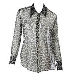 Grey Dolce & Gabbana Sheer Printed Blouse