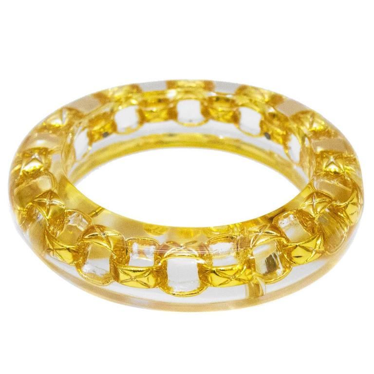 1990 Lucite Bangle With Gold Chain Link Detail 1
