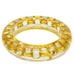 1990 Lucite Bangle With Gold Chain Link Detail