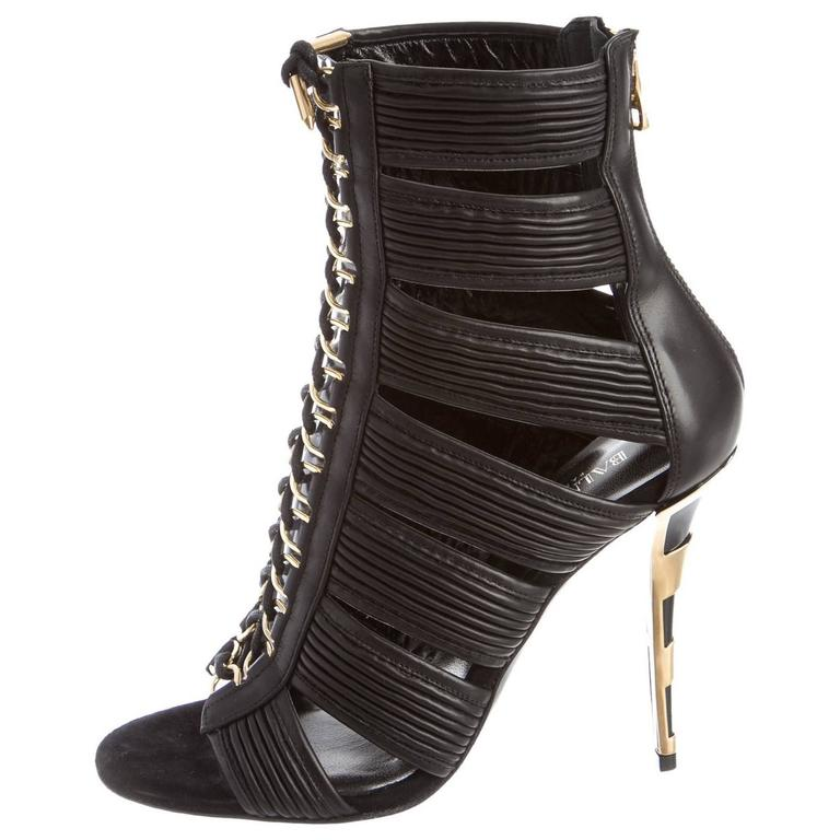 Balmain NEW & SOLD OUT Runway Black Leather Lace Up Gold Heels in Box For Sale