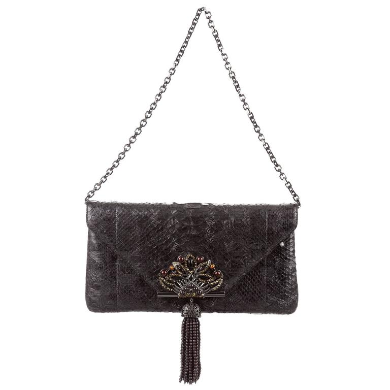 Judith Leiber NEW Snake Beaded Evening Chain 2 in 1 Clutch ...