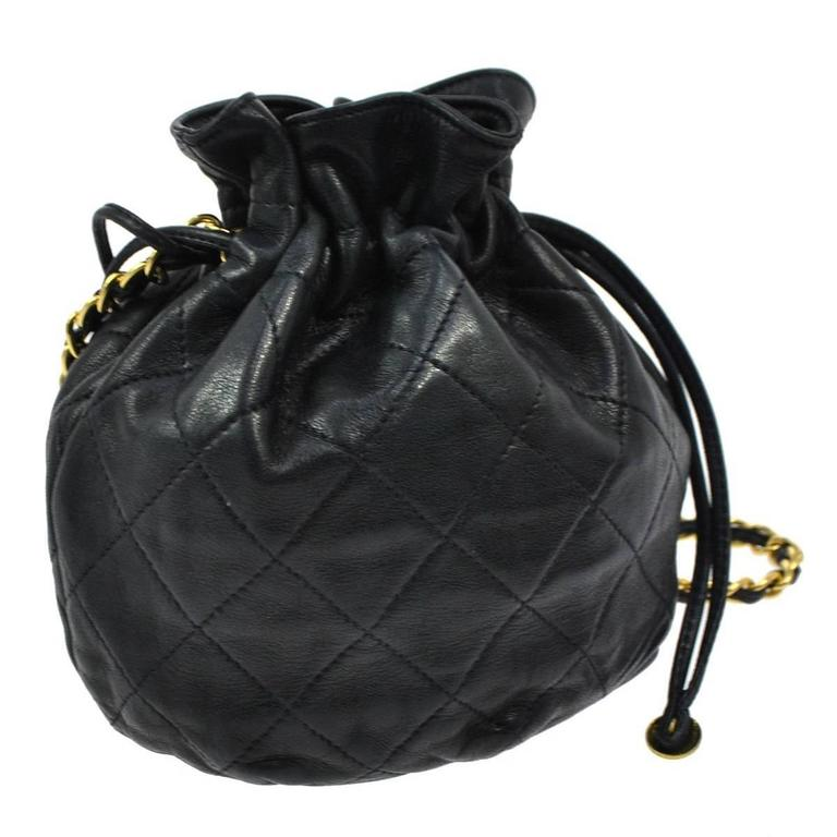 Chanel Vintage Lambskin Drawstring Party Puffy Evening Crossbody Shoulder Bag