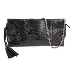 Gucci Black Snakeskin Leather Gold Chain 2 in 1 Evening Clutch Shoulder Flap Bag