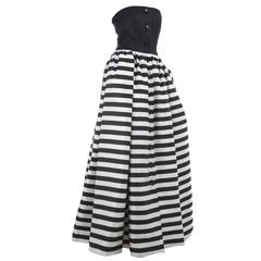 Vintage Valentino Bustier Gown with Black and Creme Stripes