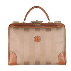 FENDI Vintage Tan Pequin STRIPED Canvas HANDBAG Train Case