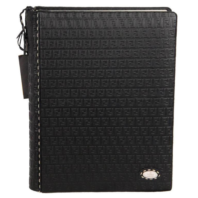 FENDI SELLERIA Black FF MONOGRAM Leather PHOTO ALBUM Book