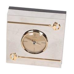 GUCCI VINTAGE Silver Metal Square DESK Table CLOCK w/ HORSEBIT Rare