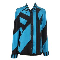 GUCCI Turquoise & Black Silk BUTTON DOWN SHIRT Blouse SIZE 38