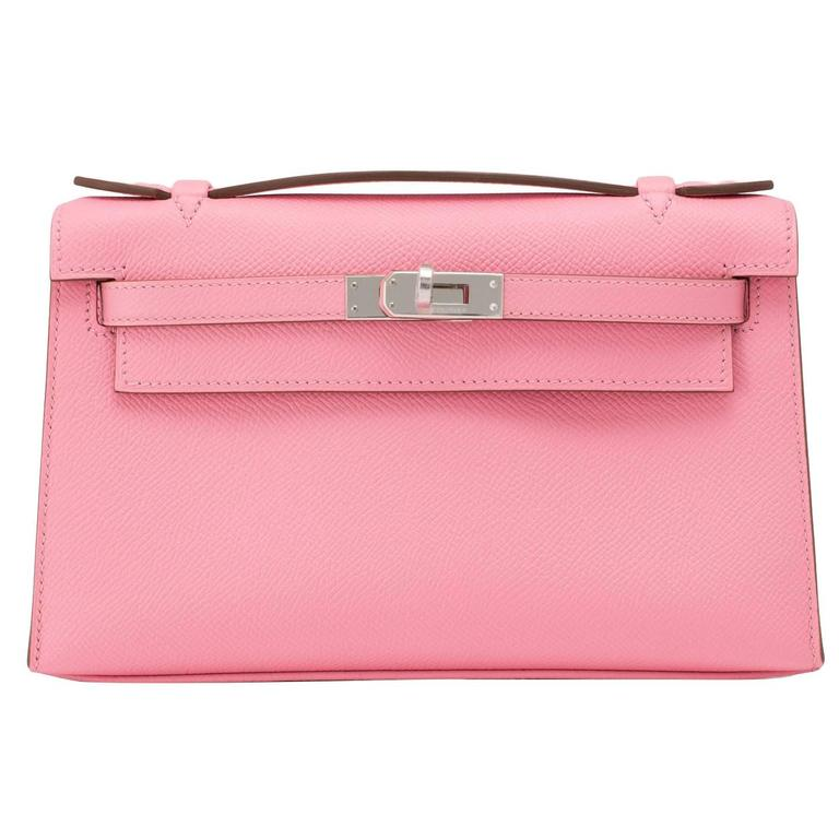 Hermes Rose Confetti Epsom Kelly Pochette Cut Clutch Pink Bag