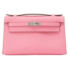 Hermes Rose Confetti Epsom Pink Pochette Cut Clutch Kelly Bag