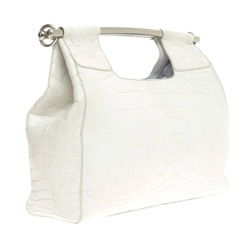 a6fcdd812d Prada White Alligator Skin Handbag For Sale at 1stdibs