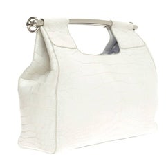 Prada White Alligator Skin Handbag