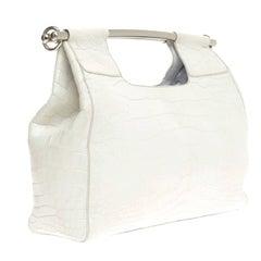 Prada White Alligator Skin Handbag