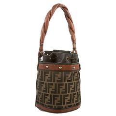 Fendi Limited Edition Monogram Cognac Evening Top Handle Bucket Shoulder Bag