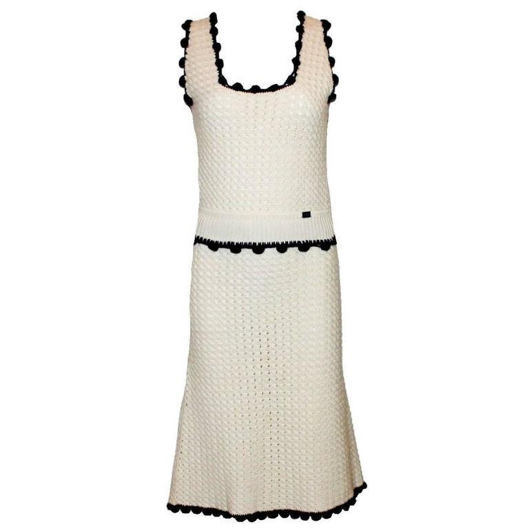 Stunning Chanel Signature Crochet Knit Cashmere Ensemble Skirt Suit