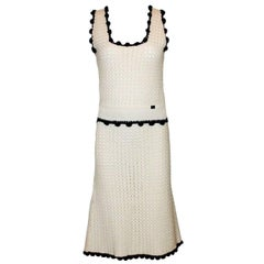 Stunning Chanel Signature Crochet Knit Cashmere Ensemble Skirt Suit