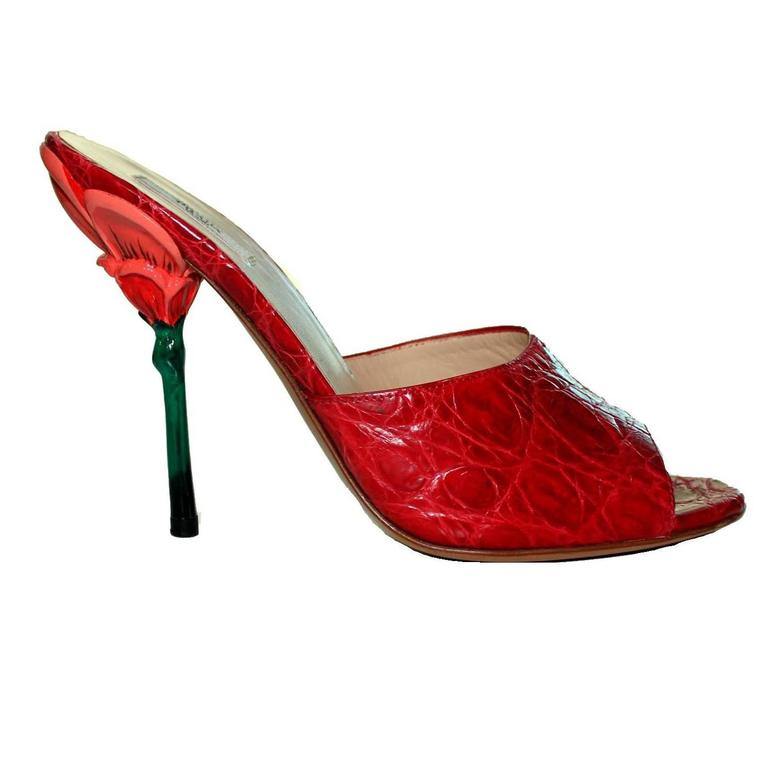 Hand-painted Prada Red Exotic Flower Heel Sandals