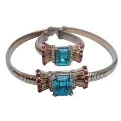 Art Deco 1940s Aquamarine Crystal Necklace & Bracelet
