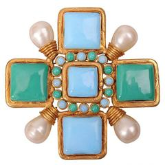 Chanel Couture Signed Maltese Cross Pin or Pendant