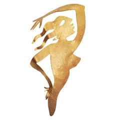 Herve Van Der Straeten Gilded Brass Brooch
