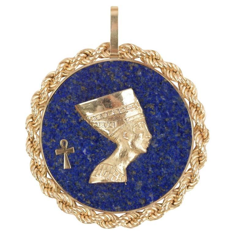 Blue LAPIS Yellow Gold Round Egyptian NEFERTITI PENDANT For Necklace 1