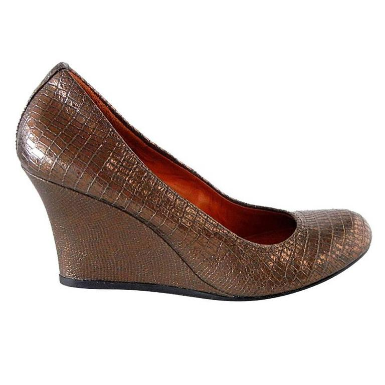 Lanvin Wedge Shoe Bronze 38.5 / 8.5 New